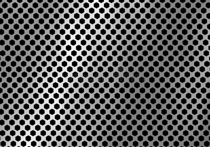 Fond argenté abstrait en métal fait à partir de la texture de modèle d'hexagone illustration stock
