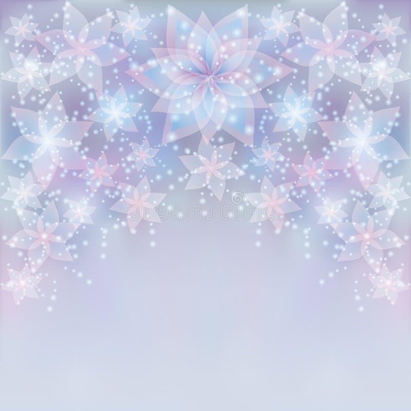 Fond argenté avec la fleur, carte de voeux illustration de vecteur
