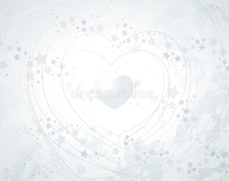 Fond argenté avec le coeur illustration de vecteur