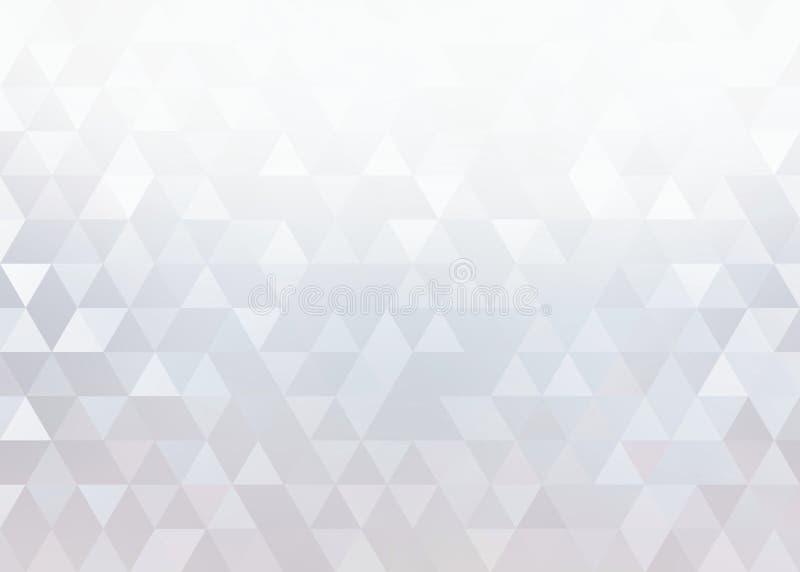Fond argenté blanc de cristaux Miroitez le modèle créatif léger de triangles illustration libre de droits