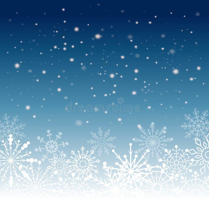 Fond argenté d'abrégé sur hiver Noël avec des flocons de neige Vecteur illustration de vecteur