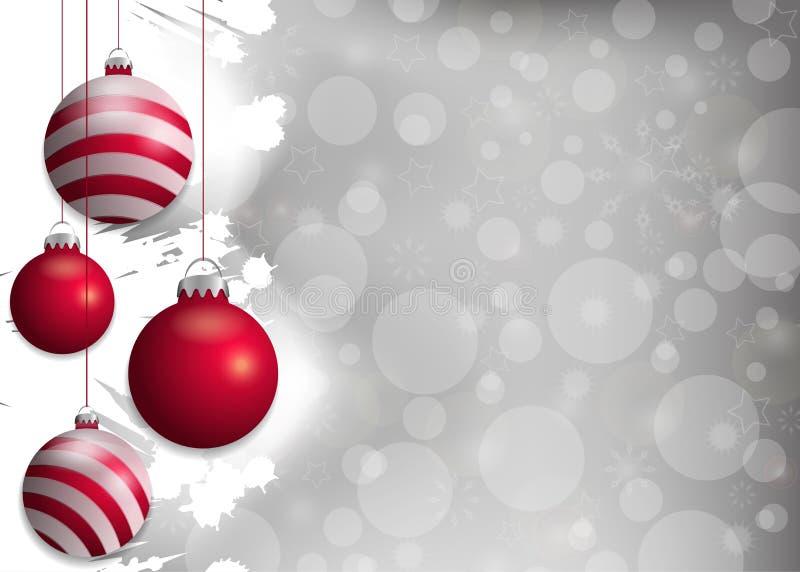 Fond argenté de Noël avec les babioles rouges Éléments décoratifs pour la conception de vacances Vecteur illustration libre de droits