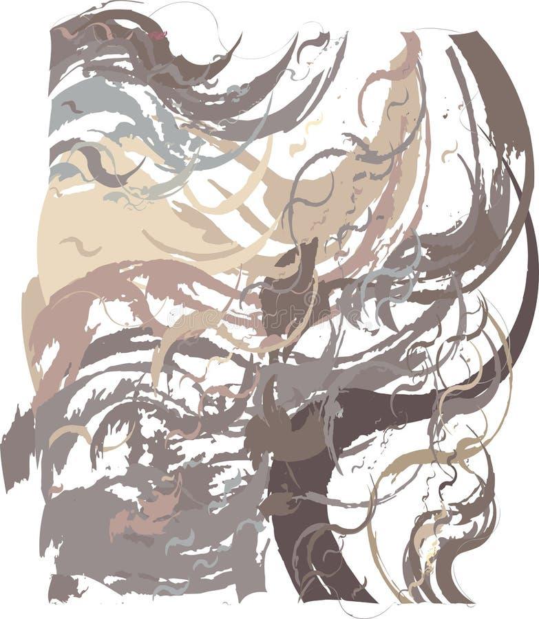 Fond artistique abstrait sous forme de mouvements giratoires de cacao au brun foncé utilisant les éléments décoratifs dans le sty illustration stock