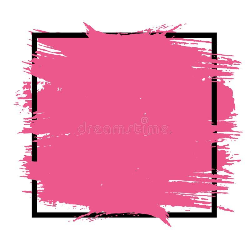Fond artistique de vecteur Peinture rose dans la place noire d'isolement sur un fond blanc Conception dans le style grunge illustration libre de droits