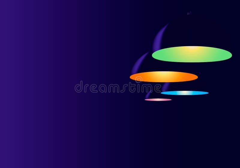 Fond au néon abstrait de bleu marine Appareil d'éclairage de quatre plafonds Lampes accrochant dans le café ou le bureau ci-dessu illustration libre de droits