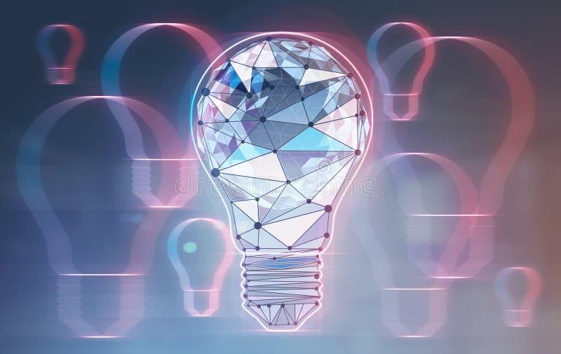 Fond au néon polygonal rougeoyant d'ampoules d'ampoule illustration de vecteur