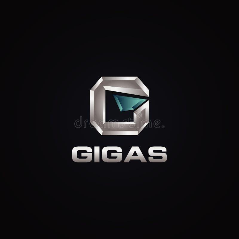 Fond audacieux 3D de la lettre argentée G Logo Symbol Icon With Dark illustration de vecteur
