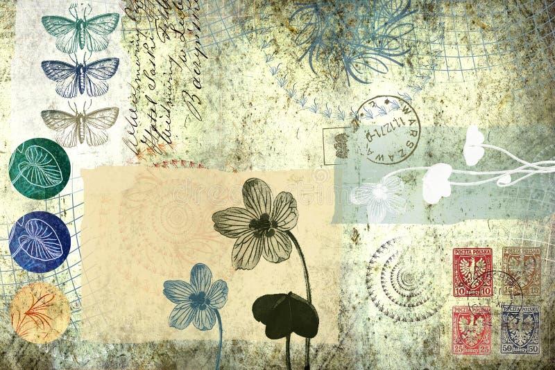 Fond avec éléments floraux et autres vieux illustration libre de droits