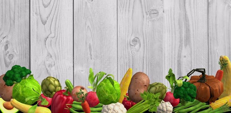 Fond avec beaucoup de différents légumes dans le format 3d illustration libre de droits