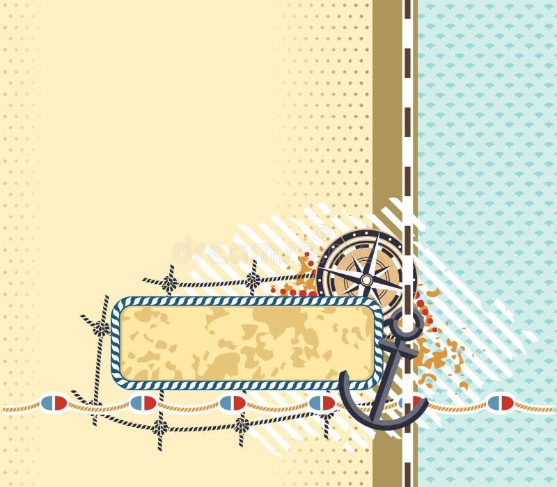 Fond avec des éléments du thème marin et de l'endroit pour une inscription illustration libre de droits