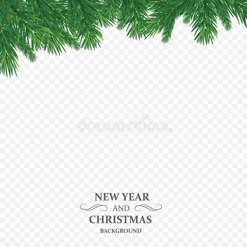 Fond avec des branches d'arbre de Noël de vecteur et espace pour le texte Frontière réaliste de sapin, cadre d'isolement sur le b illustration de vecteur
