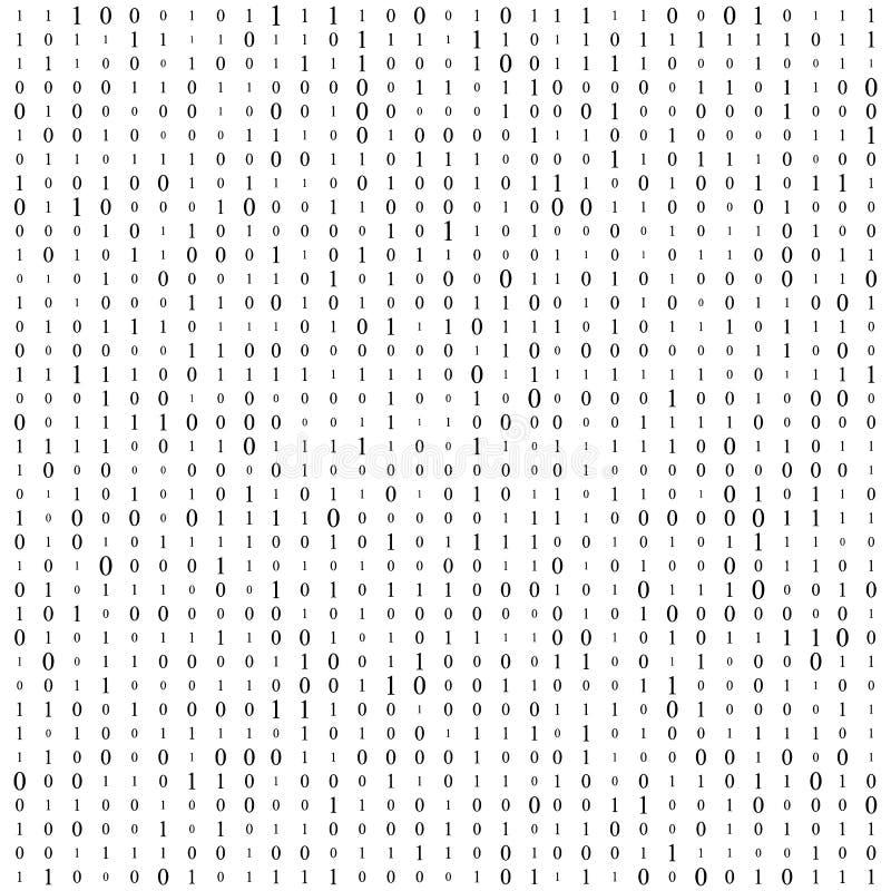 Fond avec des chiffres sur l'écran Code binaire zéro un fond de blanc de matrice bannière, modèle, papier peint Résumé illustration libre de droits