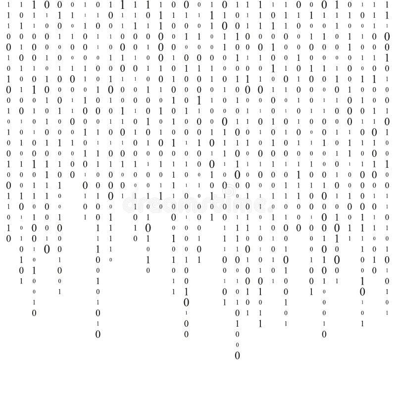 Fond avec des chiffres sur l'écran Code binaire zéro un fond de blanc de matrice bannière, modèle, papier peint Résumé illustration stock