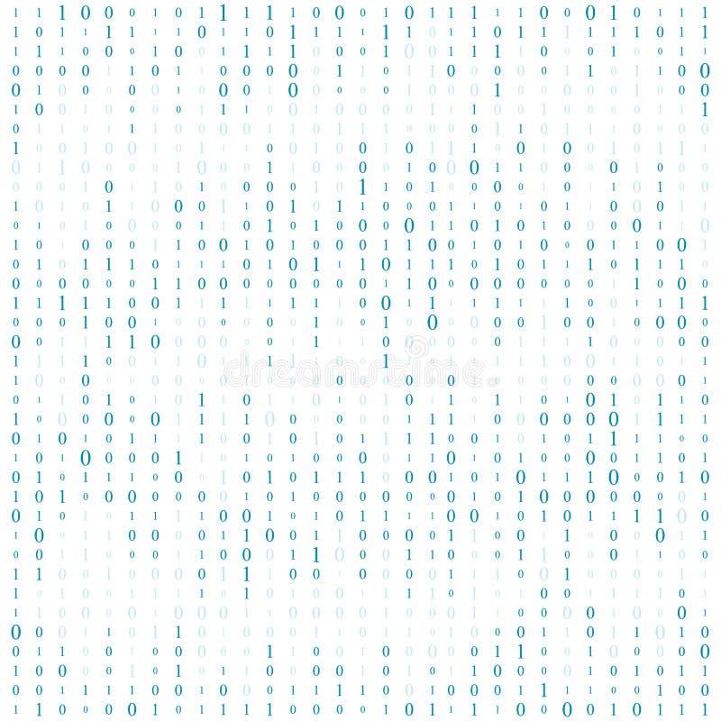 Fond avec des chiffres sur l'écran Code binaire zéro un fond de blanc de matrice bannière, modèle, papier peint Résumé illustration de vecteur
