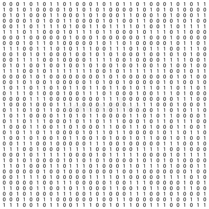Fond avec des chiffres sur l'?cran Code binaire z?ro un fond de blanc de matrice banni?re, mod?le, papier peint Matrice abstraite illustration libre de droits
