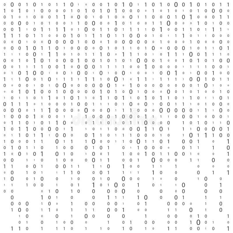 Fond avec des chiffres sur l'?cran Code binaire z?ro un fond de blanc de matrice banni?re, mod?le, papier peint Matrice abstraite illustration de vecteur