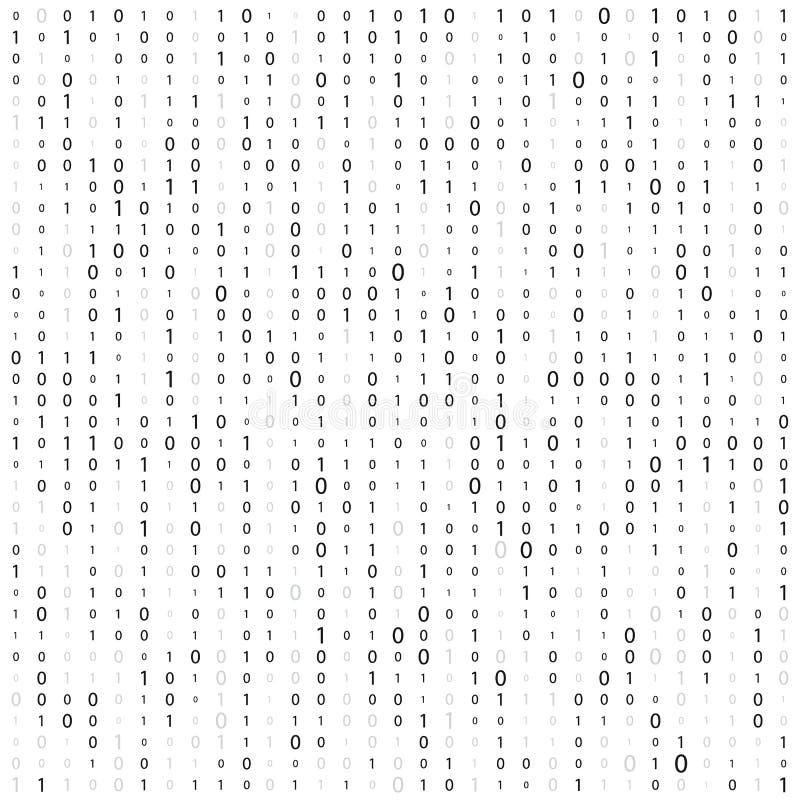 Fond avec des chiffres sur l'?cran Code binaire z?ro un fond de blanc de matrice banni?re, mod?le, papier peint Matrice abstraite illustration stock