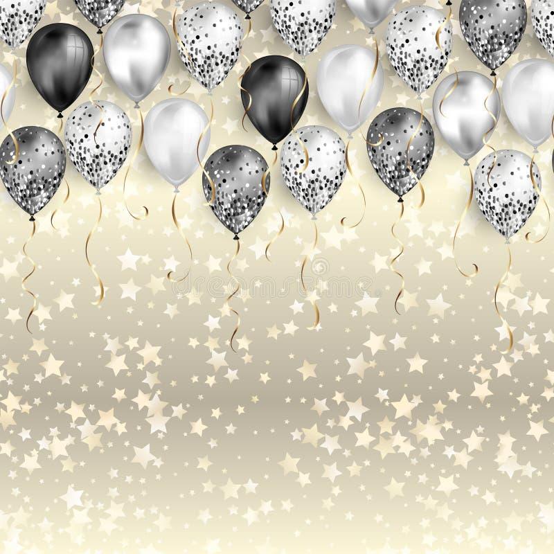 Fond avec des confettis d'étoiles et des ballons noirs et blancs en tant que frontière supérieure Réaliste brillant brillant illustration stock