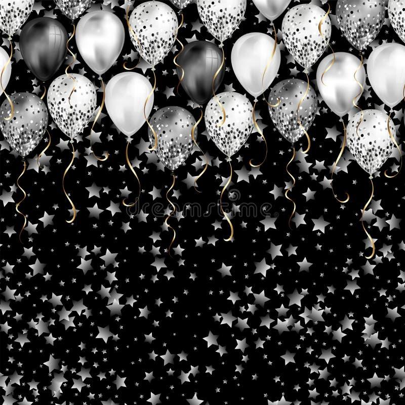 Fond avec des confettis d'étoiles et des ballons noirs et blancs en tant que frontière supérieure Réaliste brillant brillant illustration de vecteur