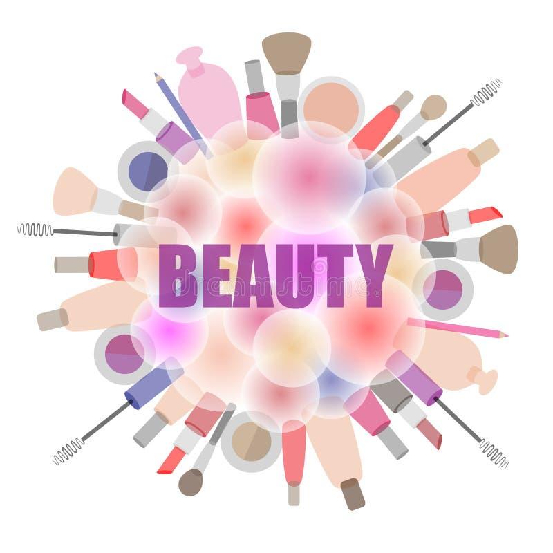 Fond avec des cosmétiques et les produits de beauté illustration libre de droits