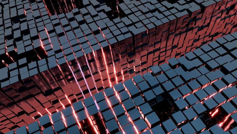 Fond avec des cubes en métal et une lumière rouge, illustration 3d photos stock