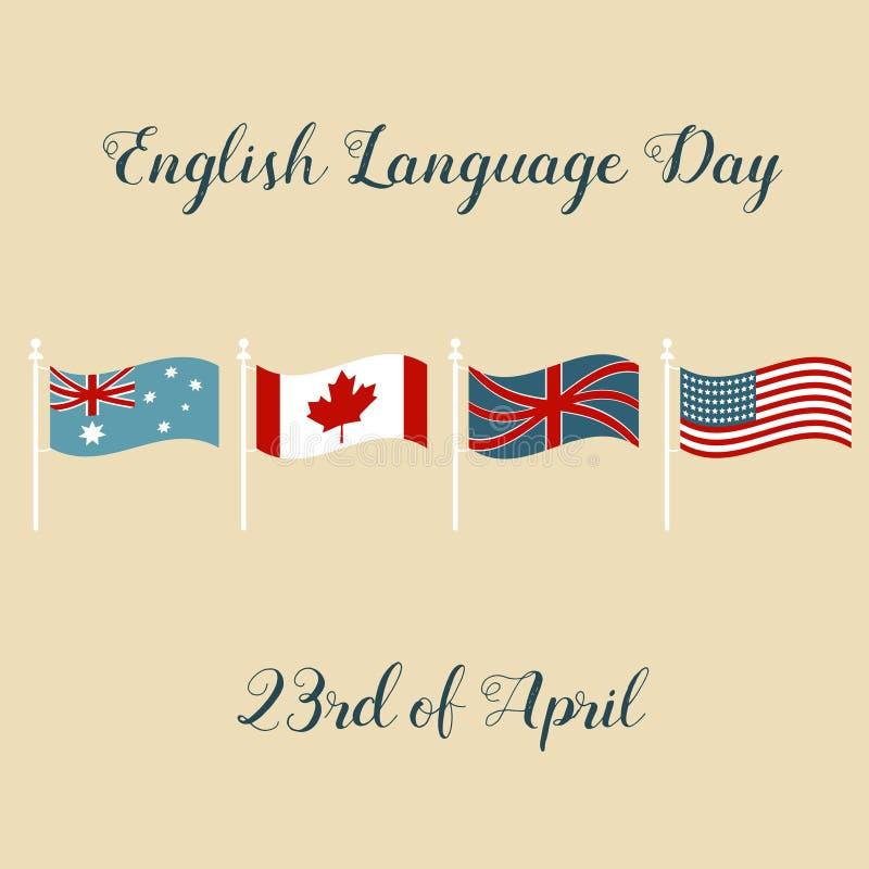 Fond avec des drapeaux d'Australie, Canada, Royaume-Uni, Etats-Unis pour le jour d'anglais illustration de vecteur