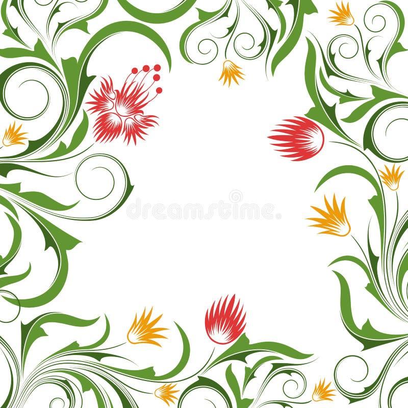 Fond avec des fleurs et des branchements illustration de vecteur