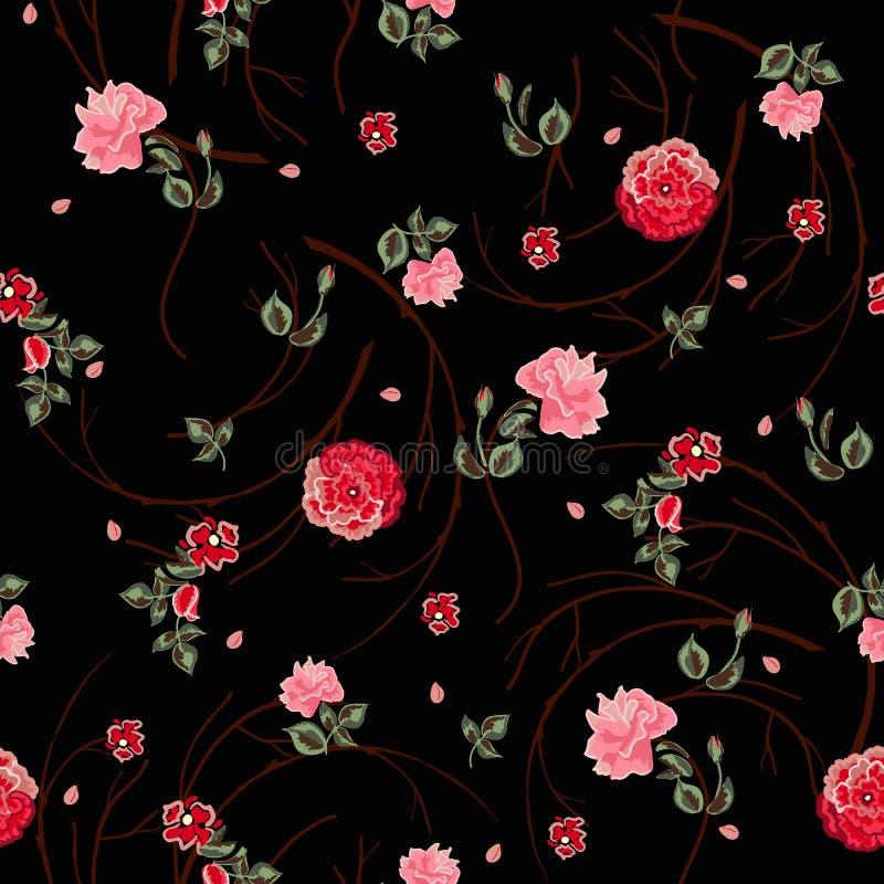Fond avec des fleurs et des lames illustration libre de droits