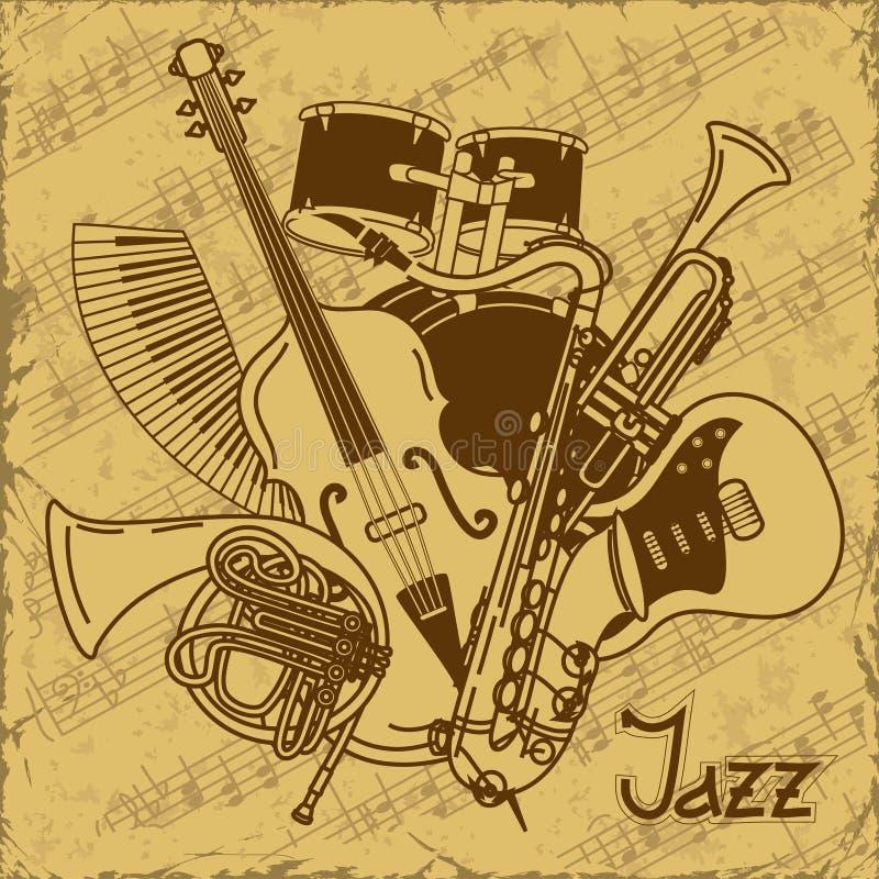 Fond avec des instruments de musique illustration de vecteur