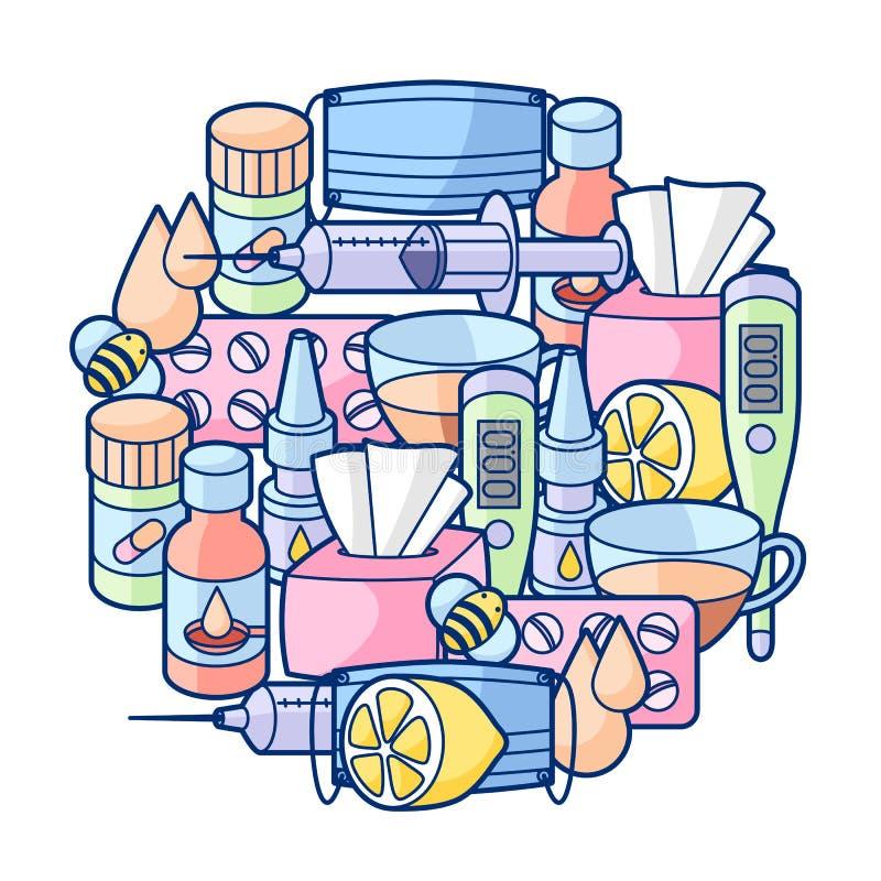Fond avec des médecines et des objets médicaux Traitement du froid et de la grippe illustration de vecteur