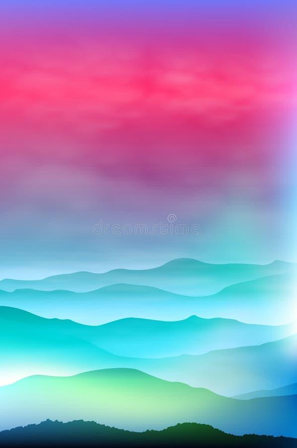 Fond avec des montagnes dans le brouillard Temps de coucher du soleil illustration stock