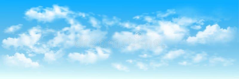 Fond avec des nuages sur le ciel bleu illustration stock