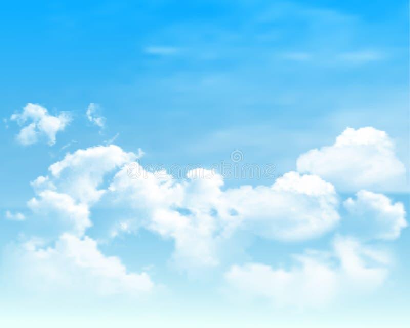Fond avec des nuages sur le ciel bleu Fond de vecteur illustration stock
