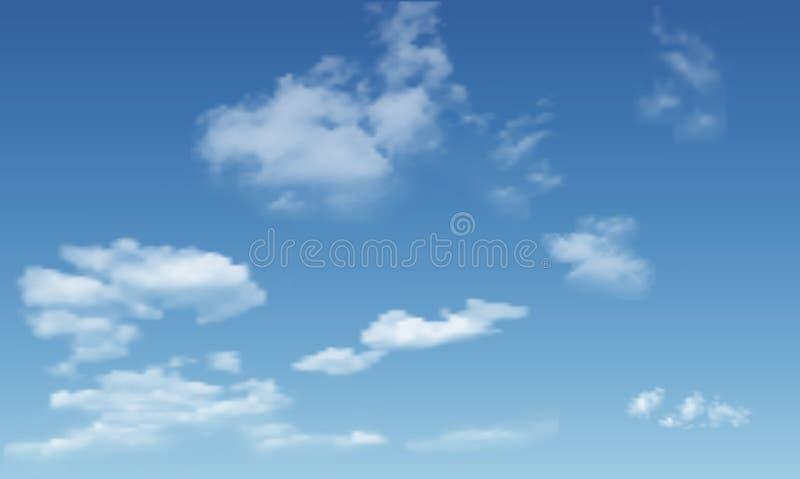 Fond avec des nuages sur le ciel bleu illustration libre de droits