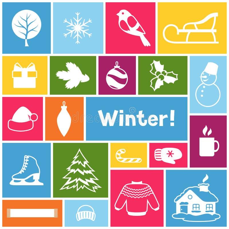 Download Fond Avec Des Objets D'hiver Articles De Vacances De Joyeux Noël, De Bonne Année Et Symboles Illustration de Vecteur - Illustration du joyeux, célébration: 77154031