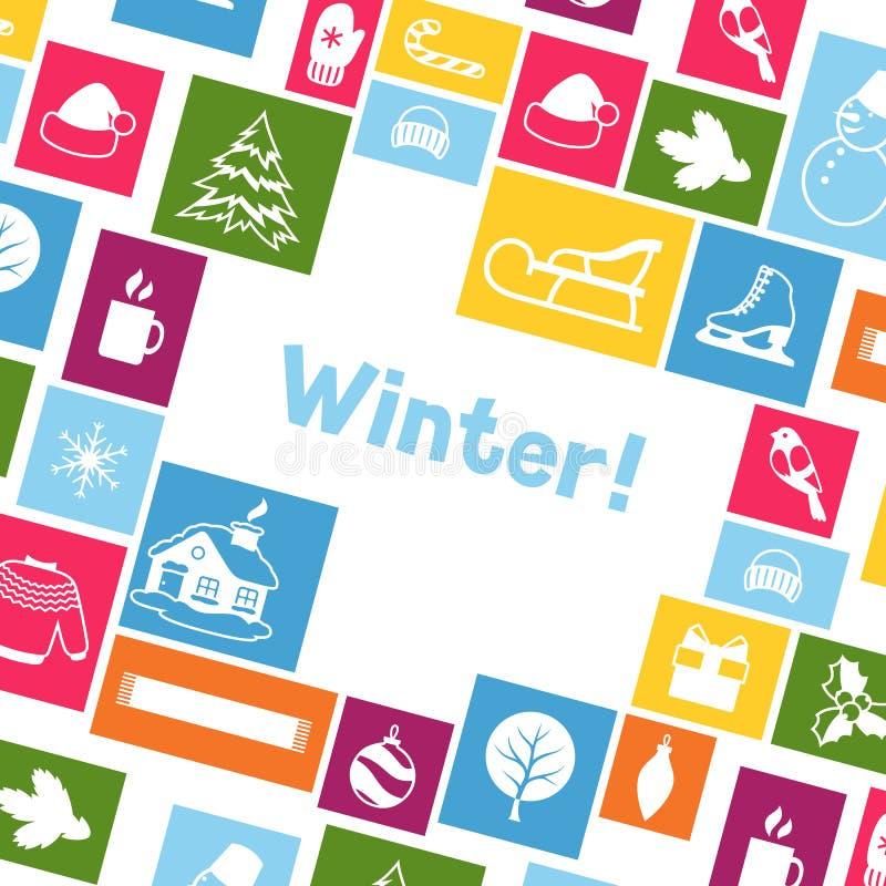 Download Fond Avec Des Objets D'hiver Articles De Vacances De Joyeux Noël, De Bonne Année Et Symboles Illustration de Vecteur - Illustration du flayer, carte: 77154041