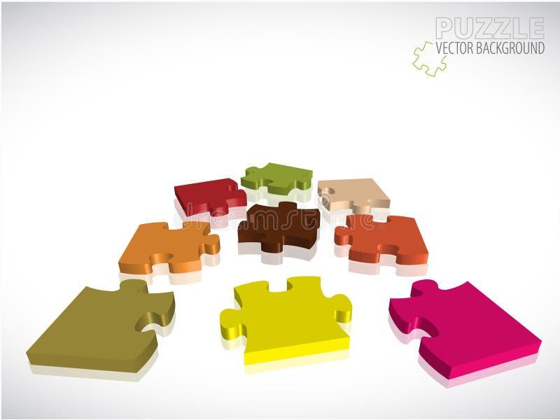 Fond avec des parties du puzzle 3D illustration de vecteur