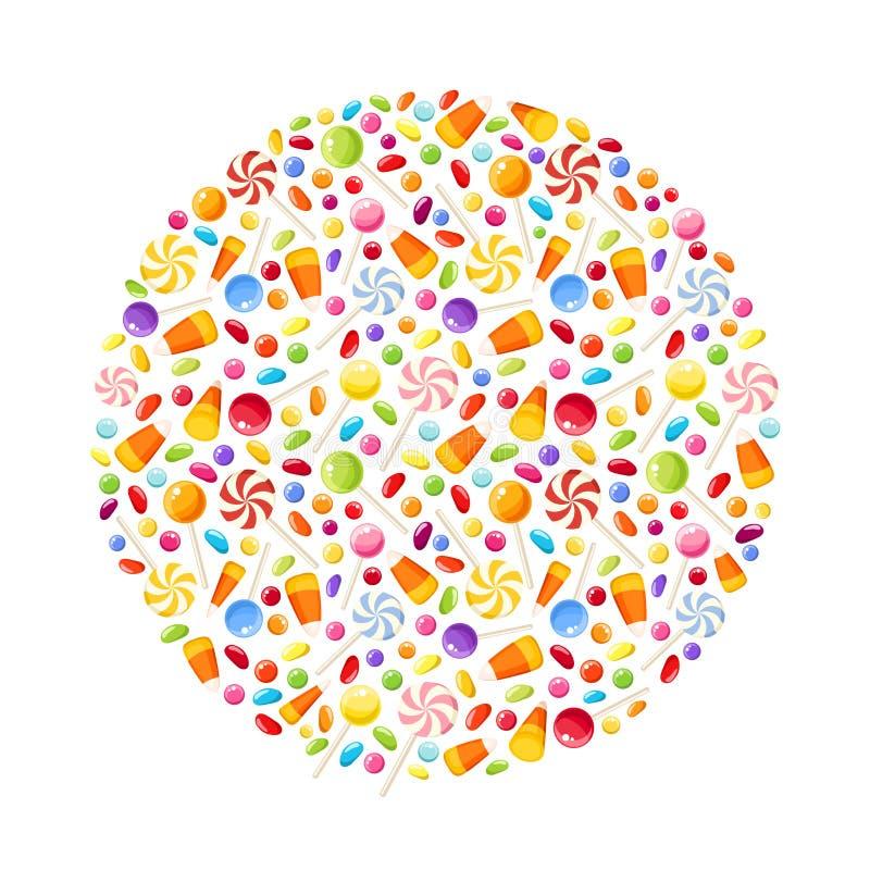Fond avec des sucreries de Halloween Illustration de vecteur illustration de vecteur