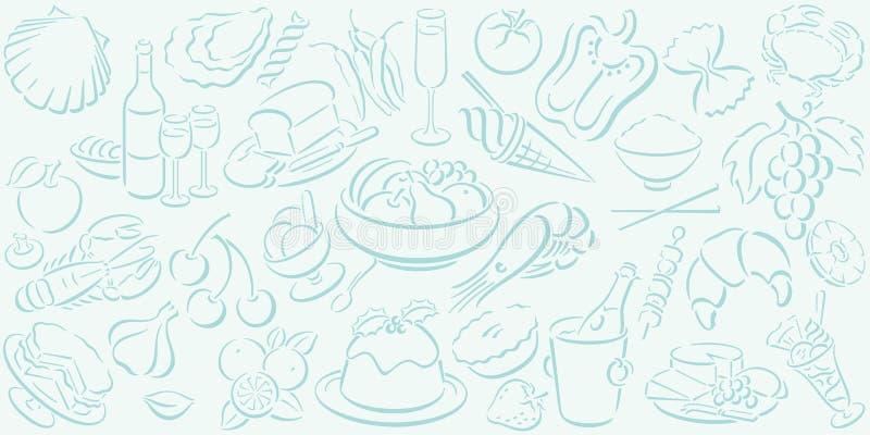 Fond avec des symboles de nourriture illustration de vecteur