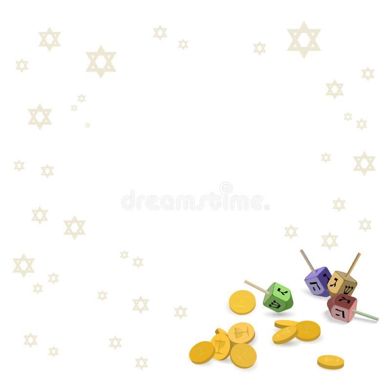 Fond avec des symboles traditionnels de Hanoucca illustration de vecteur