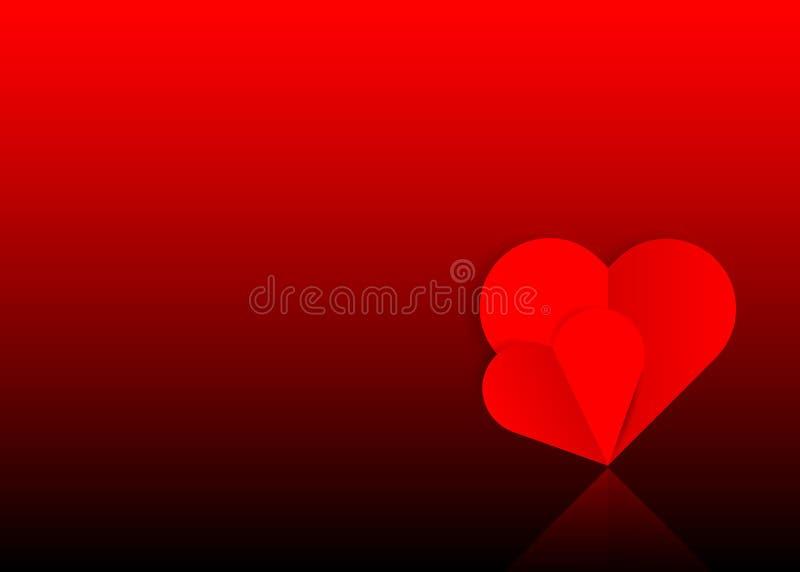 Fond avec deux coeurs de papier rouges dans un coupe-circuit, concept de Saint-Valentin à l'arrière-plan rouge foncé illustration stock