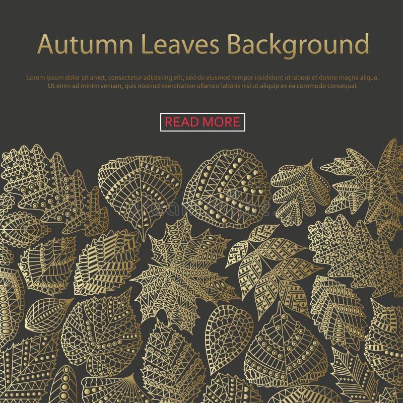 Fond avec différentes feuilles d'arbre illustration stock