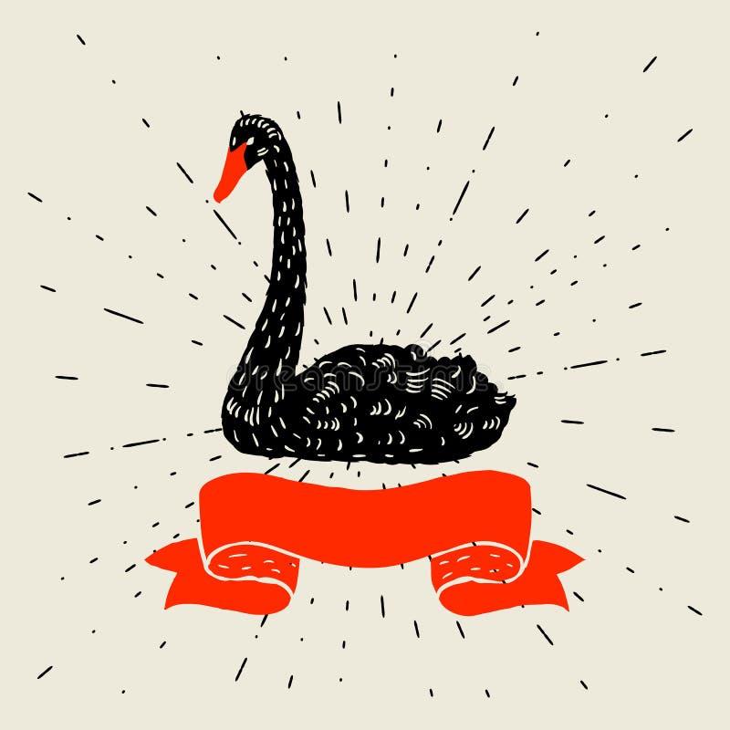 Fond avec flotter le cygne noir Oiseau tiré par la main illustration libre de droits