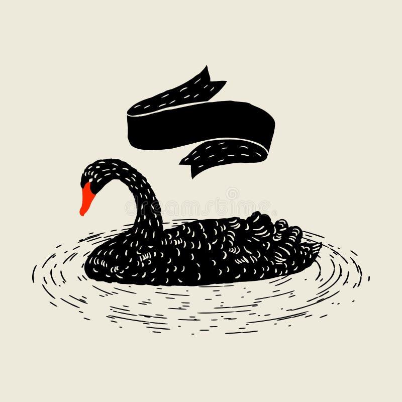 Fond avec flotter le cygne noir Oiseau tiré par la main illustration de vecteur