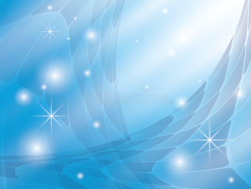 Fond avec l'abstraction bleue et les étoiles illustration stock