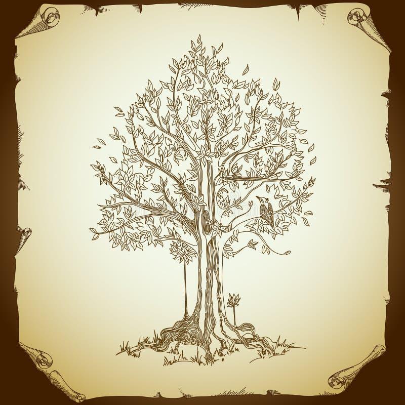 Fond avec l'arbre illustration de vecteur