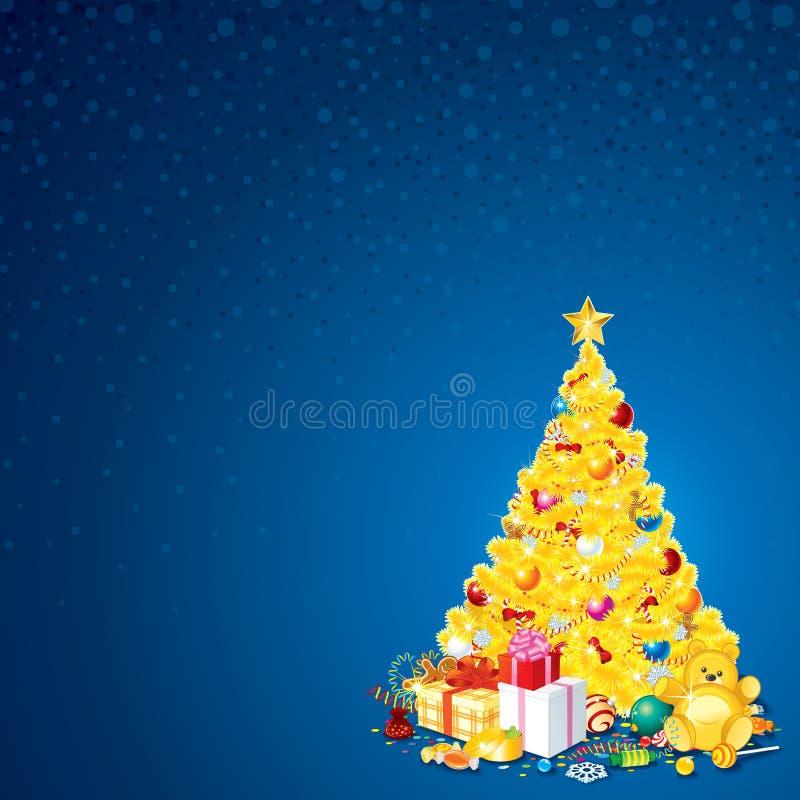 Fond avec l'arbre de Noël illustration stock