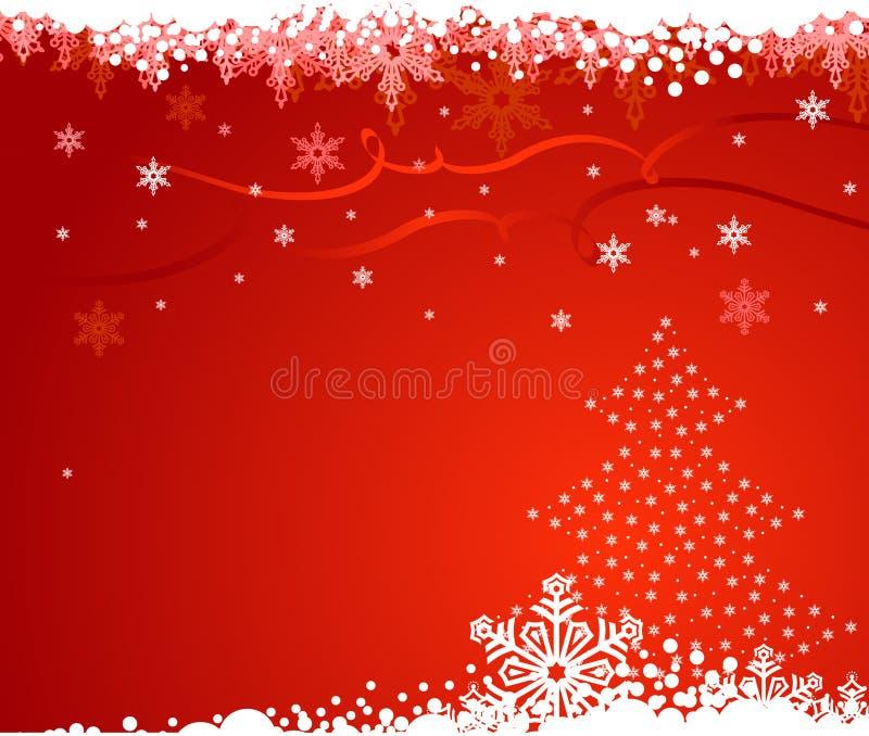 Fond avec l'arbre de Noël et les flocons de neige/VE illustration stock
