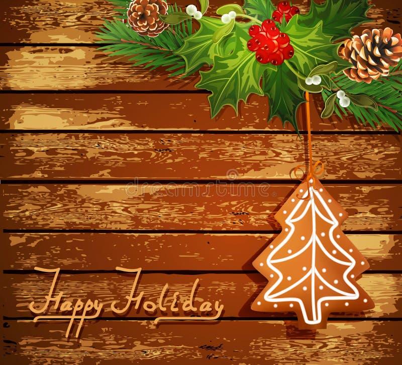 Fond avec l'arbre et la sucrerie de Noël illustration libre de droits