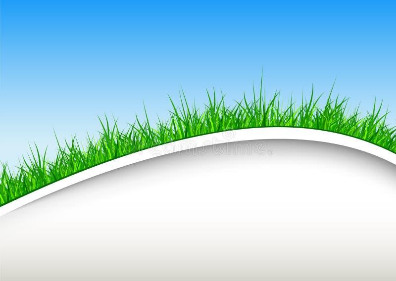 Fond avec l'herbe verte et le ciel bleu illustration libre de droits